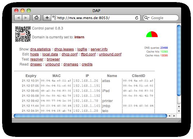 DAP Web GUI