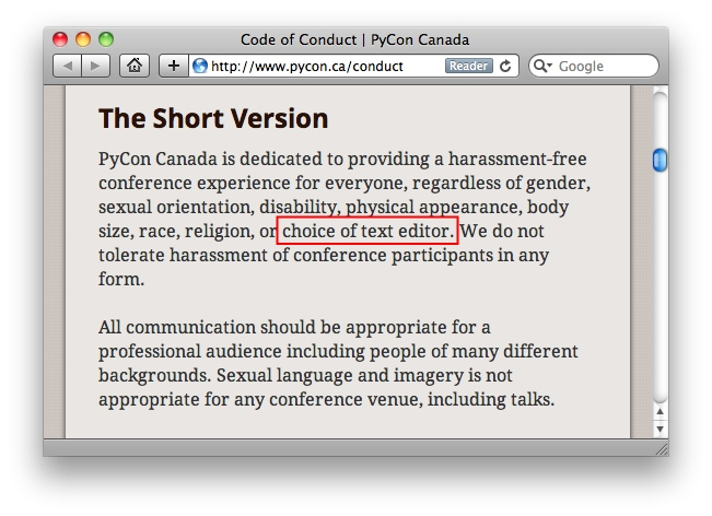 Code of conduct at Pycon.ca