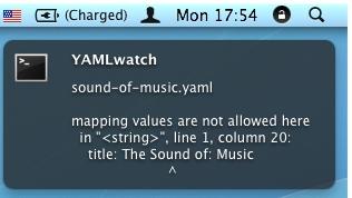 Growl notification YAML errors