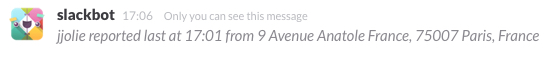Slack command in action