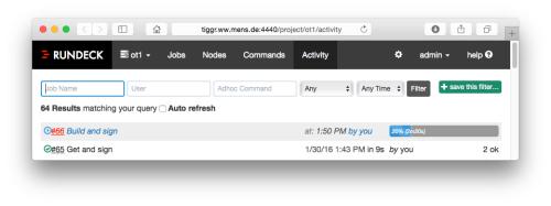 job started via API
