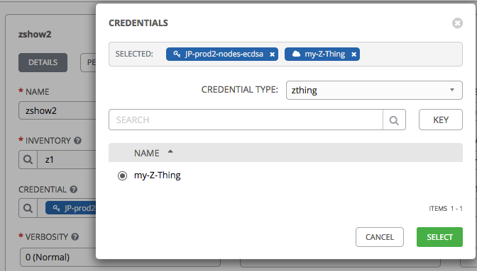 assign credential to job template