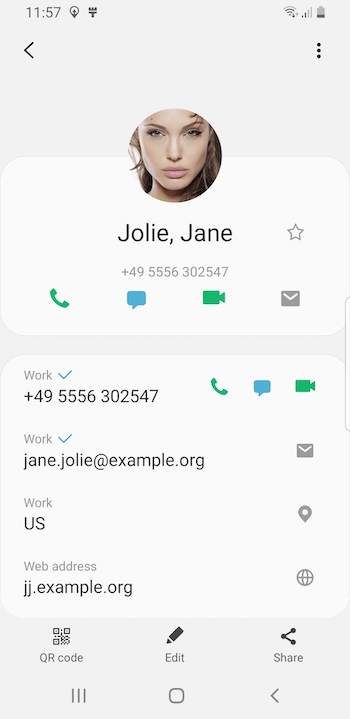 screenshot of contact on Galaxy S8