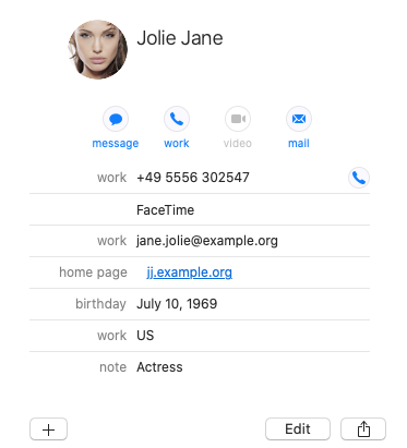 screenshot of an address book entry on macOS