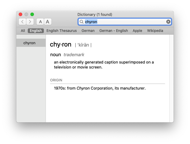 chyron in Dictionary.app
