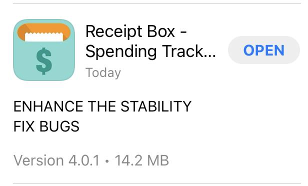 screenshot of App Store changelog