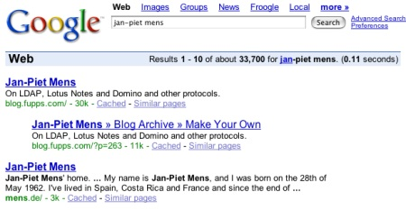 Google search for Jan-Piet Mens