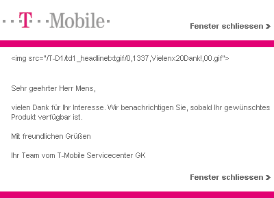 T-Mobile: Thanks!